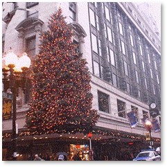 Filene's Christmas Tree, holiday decorations, displays