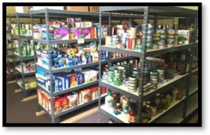 Food pantry, food rescue, shelves of food