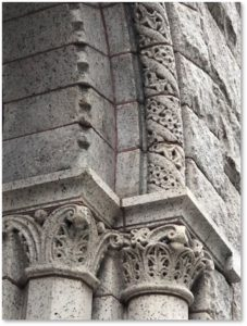 Flour and Grain Exchange, stone carving, columns, granite