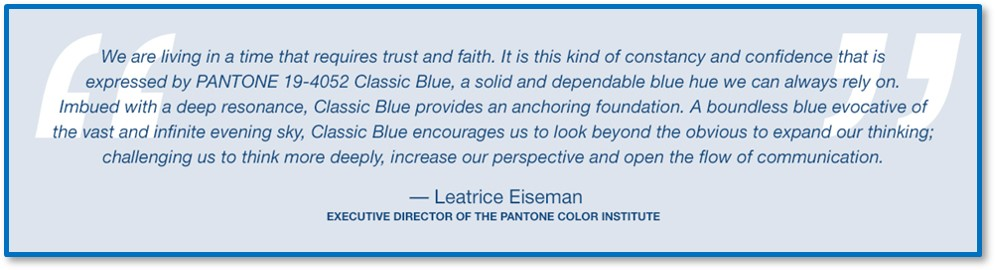 Leatrice Eiseman, Basic Blue, Color of the Year, Pantone Matching System