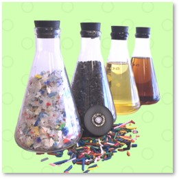 Plastics to Fuel, beakers, plastic waste, recycling