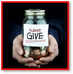 Please give, charity, requests, donations, money jar