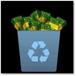 recycling bin with cash, plastic waste, plastic tax