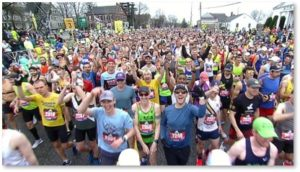 Runners starting the Boston Marathon, Hopkinton, Patriot's Day, Boston Athletic Association