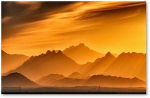 mountains, sunlight, golden light