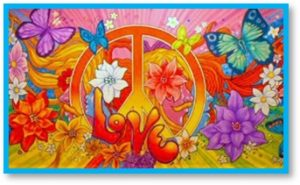 Peace Sign with Flowers, Age of Aquarius, peace, love