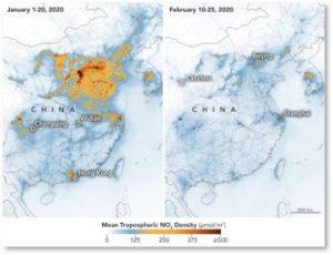 nitrogen oxide, NO2, China, air quality, coronavirus
