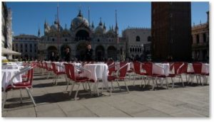 Venice, Italy, ghost town, empty tables, St. Marks Square