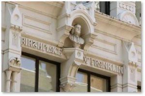 Benjamin Franklin, birthplace, Milk Street, Boston, Birthplace of Franklin