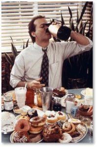 Bill Murray, Groundhog Day, breakfast, coffee