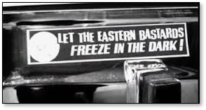 Let the Eastern Bastards Frees in the Dark, gas crisis, seventies, bumper sticker