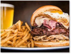 burger, fries, beer, American food, huge portions, French women