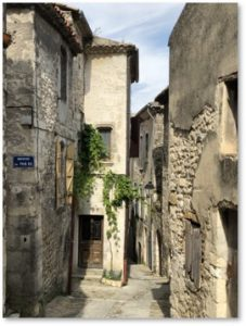 Viviers, France, downhill, narrow street