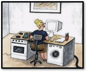 work-from-home desk, washer-dryer, remote work