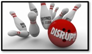 Disrupt, Business as usual, Bowling ball and pins