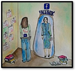 Facebook image, social media, Facebook reflection, mirror