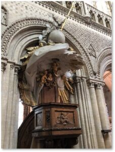 Notre Dame Cathedral, Bayeux, France, pulpit, virtual Viking vacation