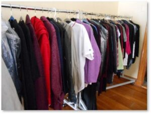 clothing racks, designer labels, designer clothing, estate sales