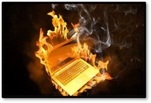 computer on fire, burning laptop, divisiveness