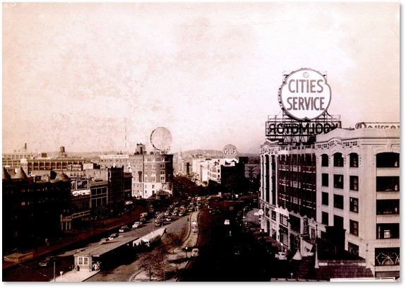 Kenmore Square, Boston, White Fuel, Cities Service, Gulf, neon signs
