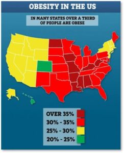Obese population, Americans, besity in the US, Obesity by state,