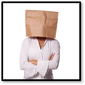 woman with paper bag on head, denial