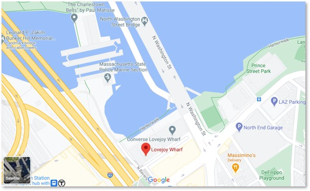 Lovejoy Wharf Map, Zakim Bridge, North End, TD Garden