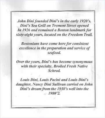 Dini's Sea Grill, John Dini, Tremont Street, restaurant history