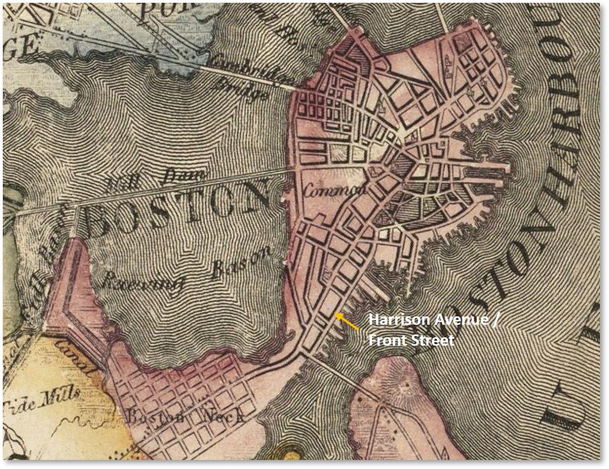 Harrison Avenue, Front Street, South End, Boston, Boston Neck, made land