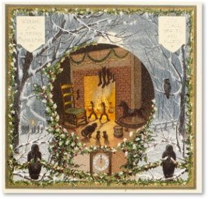 Louis Prang, Christmas Card, Fireplace, Boston