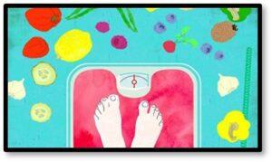 fruit, vegetables, feet on scale