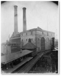 Lincoln Wharf Power Station, Boston Elevated Railway company, two smokestacks, Commercial Street, Boston