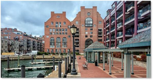 Lincoln Wharf Condominiums, water side, Boston Harbor,