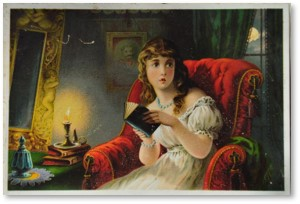 Woman reading scary book, lithograph, illustration