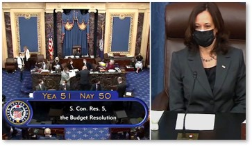 Vice President Kamala Harris, Presiding over Senate, casting tie-breaking vote in Senate