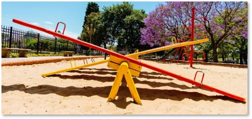seesaw, playground, up and down, playing, shadows