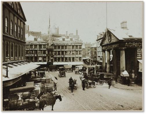 Merchants Row, Faneuil Hall, Quincy Market, Boston, occupations, John Hancock