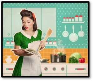 retro kitchen, fifties housewife, Susanne Skinner, March 2021