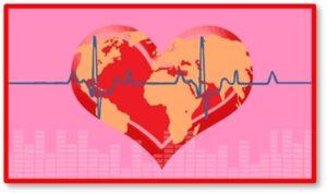 Heart with world map, echocardiogram, heart disease, lady killer