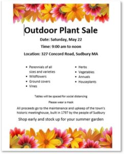 Historic Meetinghouse, First Parish of Sudbury, Plant Sale, Perennials,