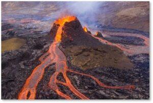 Fagradalsfjall volcano, Iceland, molten lava, partially cooled lava