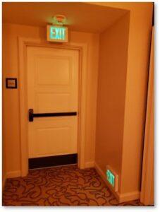 Fire door, exit, hotel hallway, stupid