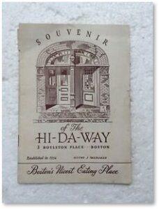 Hi-Da-Way Restaurant, Menu, Boylston Place, Boston