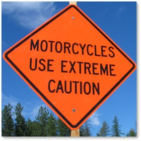 Motorcycles Use Extreme Caution, road sign, danger