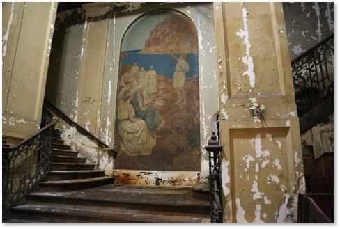 Steinert Hall, staircase, mural, underground concert hall
