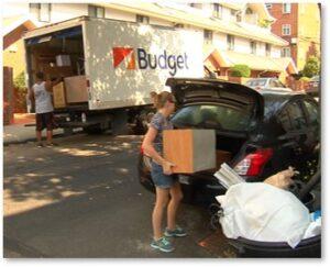 college kids, Boston, move-in day, box truck, university, college, apartment