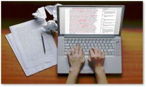 writing, editing manuscript, computer, laptop
