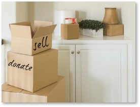 declutter, sell, donate, boxes, get rid of stuff