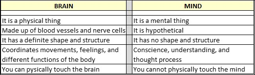 Mind-Body Connection, chart, differences