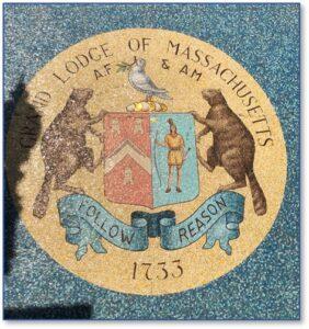 Masons, Grand Masonic Lodge of Massachusetts Seal, Beaver, Peace Dove, Boylston Street, Boston, mosaic